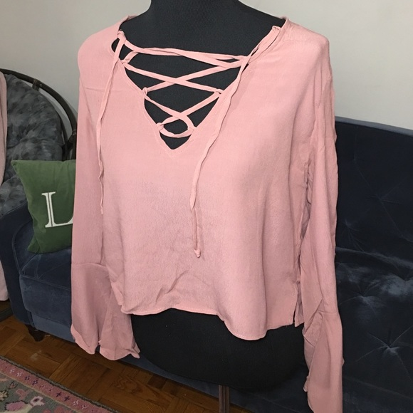 95c4db0986410f Forever 21 Tops | Dusty Pink Lace Up Crop Top L | Poshmark